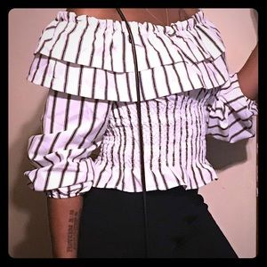 Off Shoulder Black & White striped Ruffled top.